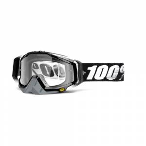 100% Racecraft Abyss Black Clear Lens Motocross Goggles