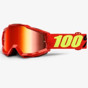 100% Accuri Saarinen Red Mirror Lens Motocross Goggles