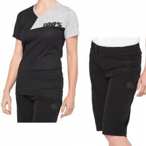 100% Airmatic Black Grey Women's Motocross Kit Combo