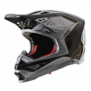 Alpinestars Supertech SM10 Alloy Silver Black Carbon Gold Motocross Helmet