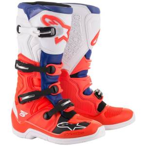 Alpinestars Tech 5 Red Fluo Blue White Motocross Boots