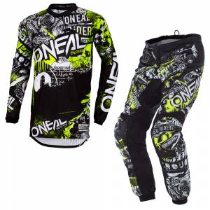 ONeal Element Attack Black Neon Yellow Motocross Kit Combo