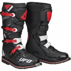 UFO Obsidian Black Red Motocross Boots