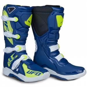 UFO Elektron Blue Neon Yellow Motocross Boots