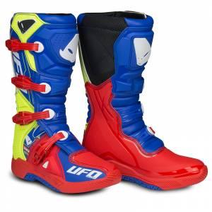 UFO Elektron Red Blue Neon Yellow Motocross Boots