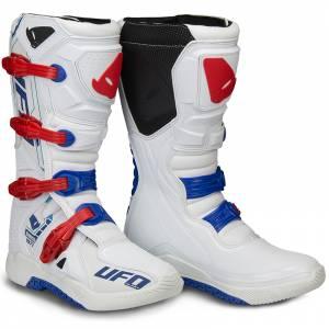 UFO Elektron White Blue Red Motocross Boots