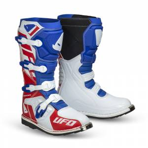 UFO Obsidian Blue White Red Motocross Boots