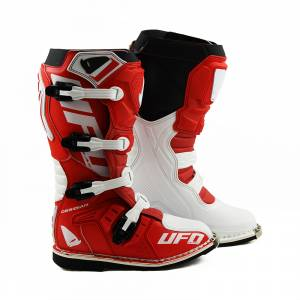 UFO Obsidian Red White Motocross Boots