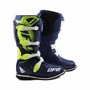 UFO Obsidian Blue Neon Yellow Motocross Boots