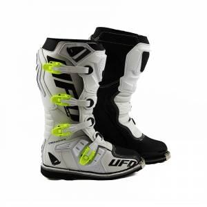 UFO Obsidian White Neon Yellow Motocross Boots