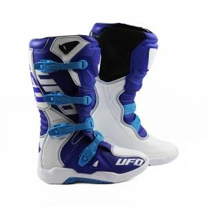 UFO Elektron White Blue Motocross Boots