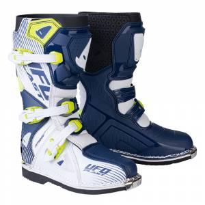 UFO Kids Typhoon Blue White Yellow Motocross Boots
