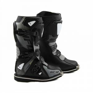 UFO Kids Typhoon Black Grey Motocross Boots