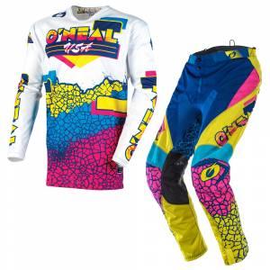 ONeal Mayhem Crackle 91 Yellow White Blue Motocross Kit Combo