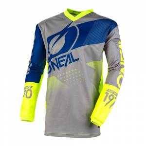 ONeal Kids Element Factor Grey Blue Neon Yellow Motocross Jersey