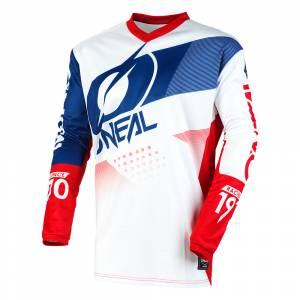 ONeal Element Factor White Blue Red Motocross Jersey