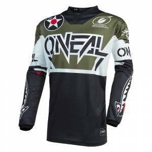 ONeal Element Warhawk Black White Green Motocross Jersey