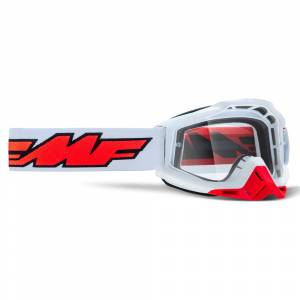 100% FMF Powerbomb Rocket White Clear Lens Motocross Goggles