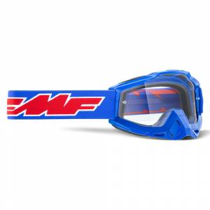 100% FMF Powerbomb Rocket Blue Clear Lens Motocross Goggles