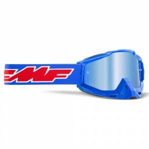 100% FMF Powerbomb Rocket Blue Blue Mirror Lens Motocross Goggles