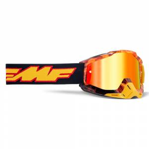 100% FMF Powerbomb Spark Red Mirror Lens Motocross Goggles