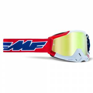 100% FMF Powerbomb US of A True Gold Mirror Lens Motocross Goggles