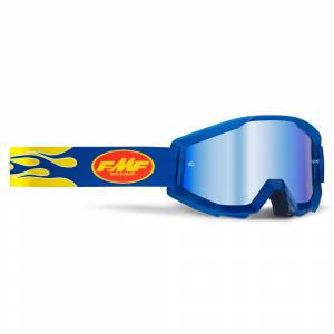 100% FMF Powercore Flame Navy Blue Mirror Lens Motocross Goggles