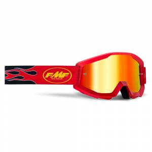 100% FMF Powercore Flame Red Red Mirror Lens Motocross Goggles