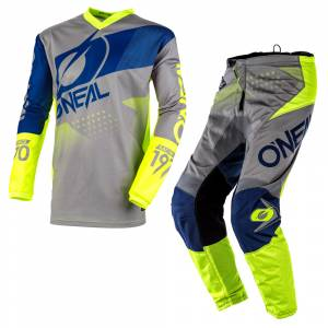 ONeal Element Factor Grey Blue Neon Yellow Motocross Kit Combo