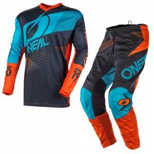 ONeal Element Factor Grey Orange Blue Motocross Kit Combo