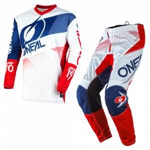 ONeal Element Factor White Blue Red Motocross Kit Combo