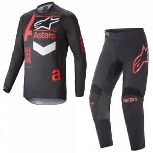 Alpinestars Fluid Chaser Black Red Motocross Kit Combo