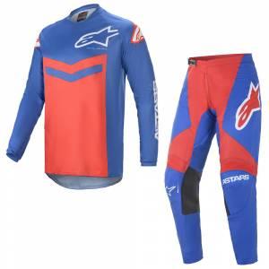 Alpinestars Fluid Speed Blue Bright Red Motocross Kit Combo