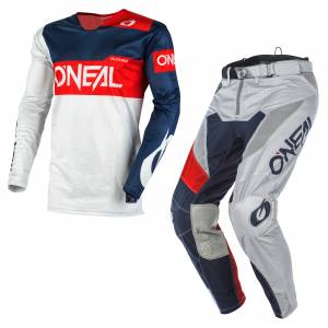 ONeal Airwear Freez Grey Blue Red Motocross Kit Combo