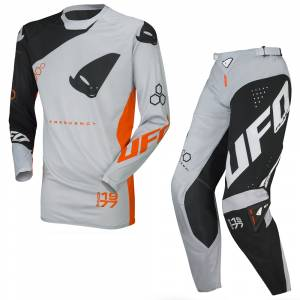 UFO Frequency Slim Black Grey Neon Orange Motocross Kit Combo