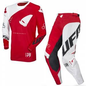 UFO Frequency Slim Neon Red White Motocross Kit Combo