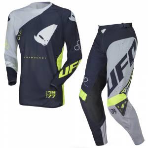 UFO Frequency Slim Blue Grey Neon Yellow Motocross Kit Combo
