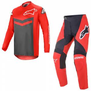 Alpinestars Fluid Speed Bright Red Anthracite Motocross Kit Combo