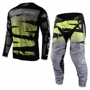 Troy Lee Designs GP Brushed Black Glo Green Motocross Kit Combo