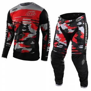 Troy Lee Designs GP Formula Camo Black Rocket Red Motocross Kit Combo