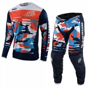 Troy Lee Designs GP Formula Camo Navy Orange Motocross Kit Combo
