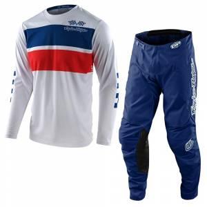 Troy Lee Designs GP Racing Stripe White Motocross Kit Combo