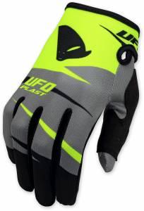 UFO Kids Revolt Neon Yellow Grey Motocross Gloves