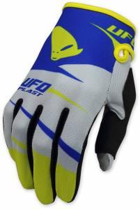UFO Kids Revolt Grey Blue Motocross Gloves