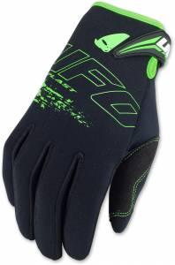 UFO Neoprene Black Fluo Green Motocross Gloves