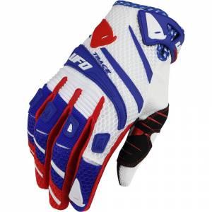 UFO Trace White Blue Red Motocross Gloves