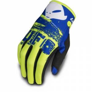 UFO Draft Neon Yellow Blue Motocross Gloves
