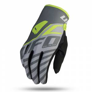 UFO Kids Vanadium Grey Neon Yellow Motocross Gloves