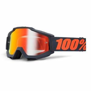 100% Accuri Gunmetal Red Mirror Lens Motocross Goggles