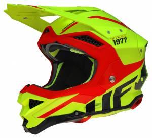 UFO Diamond Neon Yellow Red Motocross Helmet
